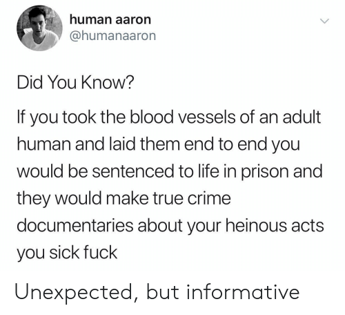 Crime, Life, and True: human aaron  @humanaaron  Did You Know?  If you took the blood vessels of  human and laid them end to end you  wOuld be sentenced to life in prison and  they would make true crime  documentaries about your heinous acts  you sick fuck Unexpected, but informative