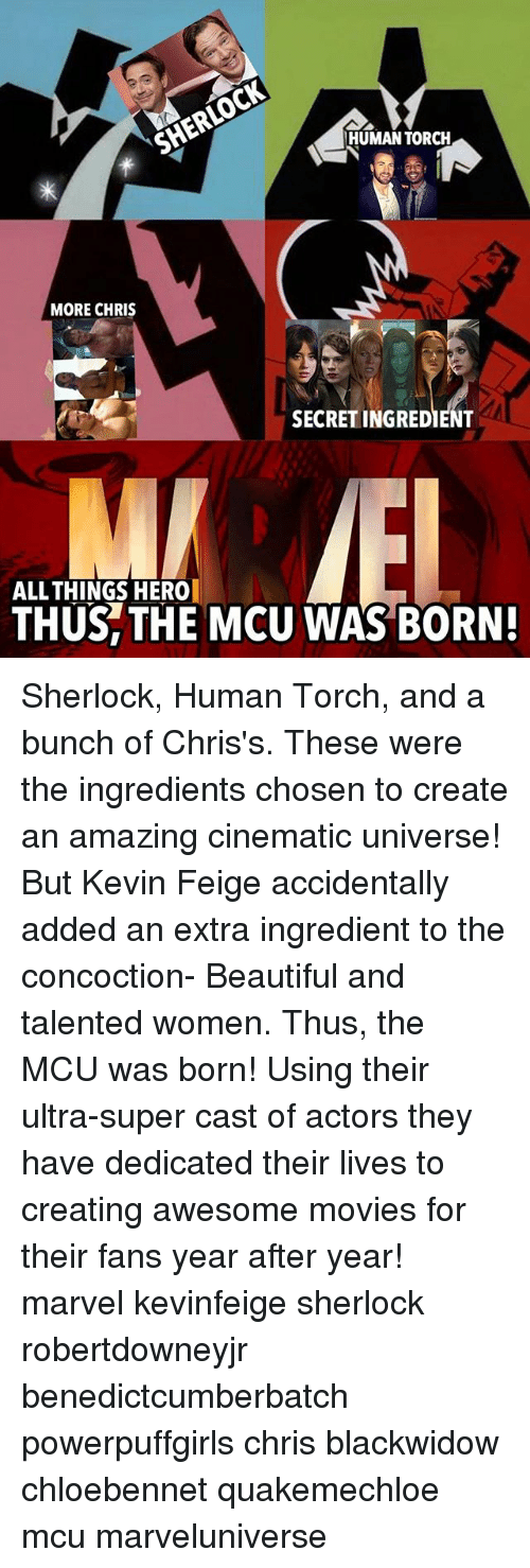 awesome movies: HUMAN TORCH  MORE CHRIS  SECRET INGREDIENT  ALL THINGS HERO  THUS, THE MCU WAS BORN! Sherlock, Human Torch, and a bunch of Chris's. These were the ingredients chosen to create an amazing cinematic universe! But Kevin Feige accidentally added an extra ingredient to the concoction- Beautiful and talented women. Thus, the MCU was born! Using their ultra-super cast of actors they have dedicated their lives to creating awesome movies for their fans year after year! marvel kevinfeige sherlock robertdowneyjr benedictcumberbatch powerpuffgirls chris blackwidow chloebennet quakemechloe mcu marveluniverse
