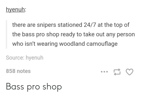 woodland: hyenuh:  there are snipers stationed 24/7 at the top of  the bass pro shop ready to take out any person  who isn't wearing woodland camouflage  Source: hyenuh  858 notes Bass pro shop