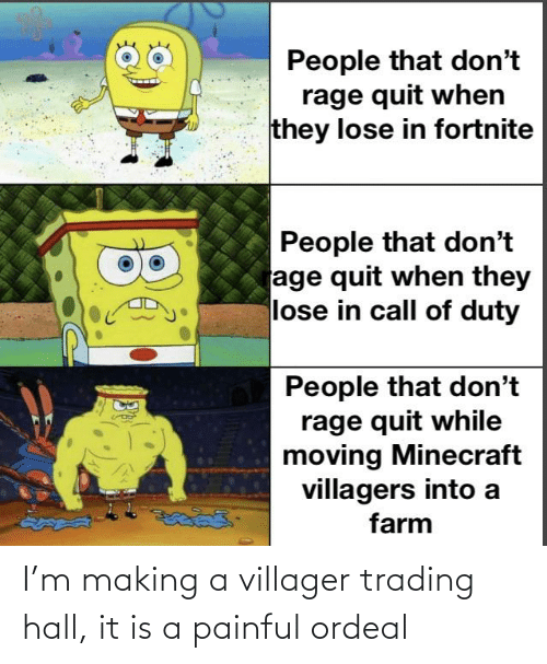 Painful: I'm making a villager trading hall, it is a painful ordeal