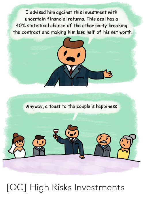 Party, Toast, and Happiness: I advised him against this investment with  uncertain financial returns. This deal has a  40% statistical chance of the other party breaking  the contract and making him lose half of his net worth  Anyway, a toast to the couple's happiness [OC] High Risks Investments