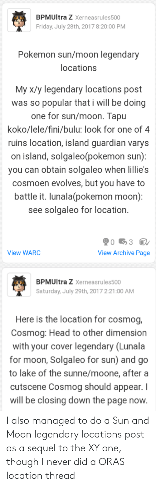 Locations: I also managed to do a Sun and Moon legendary locations post as a sequel to the XY one, though I never did a ORAS location thread