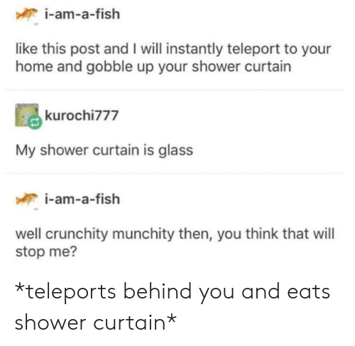 teleport: i-am-a-fish  like this post and I will instantly teleport to your  home and gobble up your shower curtain  kurochi777  My shower curtain is glass  i-am-a-fish  well crunchity munchity then, you think that will  stop me? *teleports behind you and eats shower curtain*