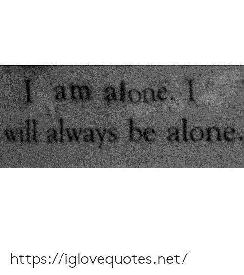 Being Alone, Net, and Will: I am alone. I  will always be alone. https://iglovequotes.net/
