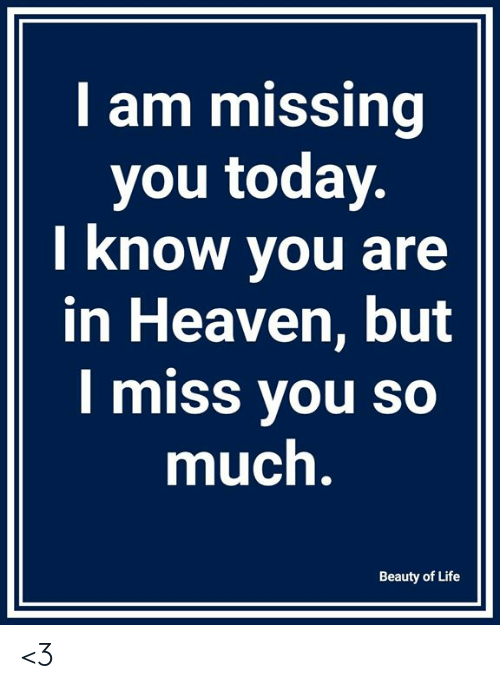 Heaven, Life, and Memes: I am missing  you today  I know you are  in Heaven, but  I miss you so  much  Beauty of Life <3