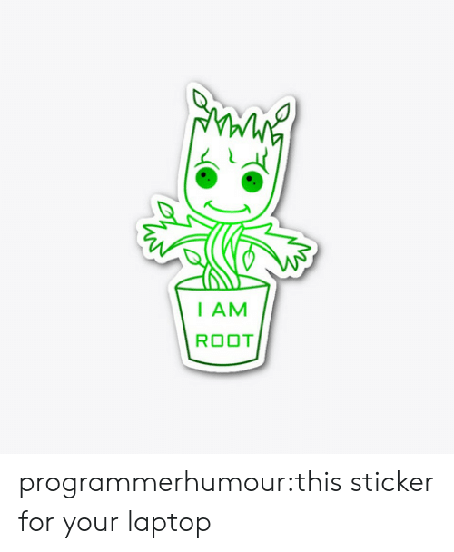 Laptop: I AM  ROOT programmerhumour:this sticker for your laptop