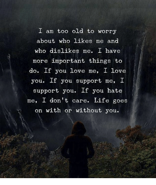 Life, Love, and I Love You: I am too old to worry  about who likes me and  who dislikes me. I have  more important things to  do. If you love me, I love  you. If you support me, I  support you. If you hate  me, I don't care. Life goes  on with or without you.