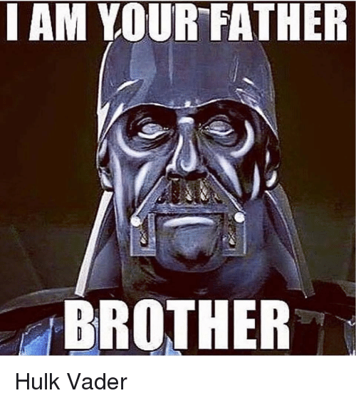 Hulk, Brother, and Vader: I AM YOUR FATHER  BROTHER Hulk Vader