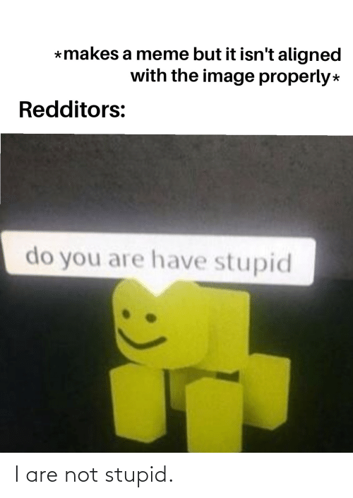 Are Not: I are not stupid.