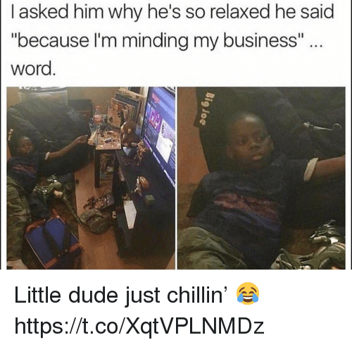 """Dude, Business, and Word: I asked him why he's so relaxed he said  """"because I'm minding my business""""  word Little dude just chillin' 😂 https://t.co/XqtVPLNMDz"""