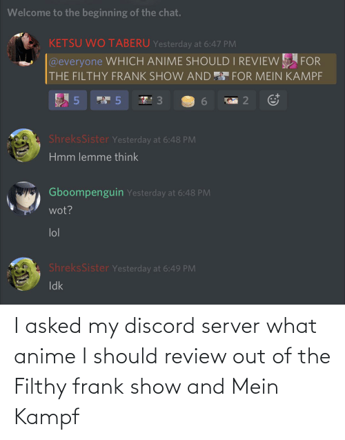 mein: I asked my discord server what anime I should review out of the Filthy frank show and Mein Kampf