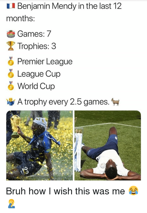 How I Wish: I Benjamin Mendy in the last 12  months  Games: 7  Trophies: 3  Premier League  %League Cup  0  World Cup  A trophy every 2.5 games. Bruh how I wish this was me 😂🤦♂️