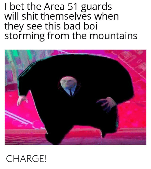 Bad, I Bet, and Shit: I bet the Area 51 guards  will shit themselves when  they see this bad boi  storming from the mountains CHARGE!