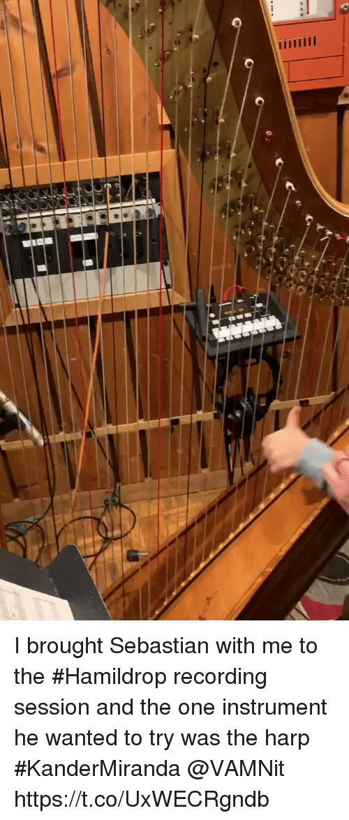 Memes, 🤖, and Harp: I brought Sebastian with me to the #Hamildrop recording session and the one instrument he wanted to try was the harp #KanderMiranda @VAMNit https://t.co/UxWECRgndb