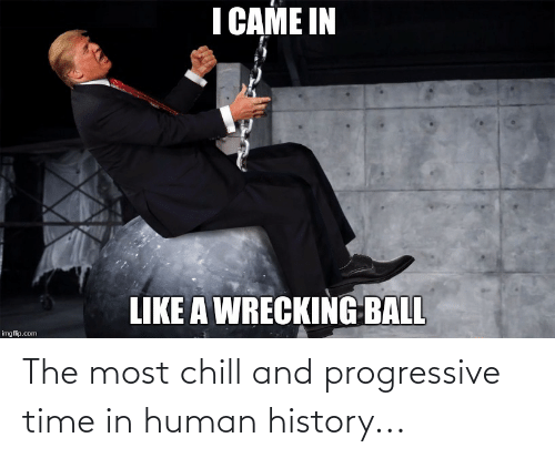 wrecking: I CAME IN  LIKE A WRECKING BALL  imgflip.com The most chill and progressive time in human history...
