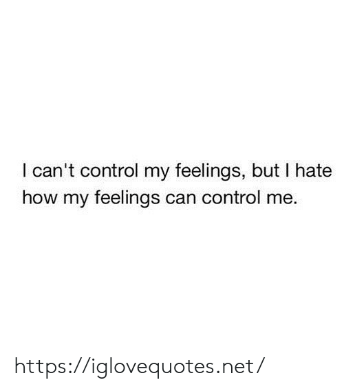 Control, How, and Net: I can't control my feelings, but I hate  how my feelings can control me https://iglovequotes.net/