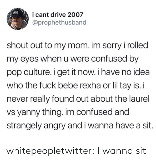 Confused, Pop, and Sorry: i cant drive 2007  @prophethusband  shout out to my mom. im sorry i rolled  my eyes when u were confused by  pop culture. i get it now. i have no idea  who the fuck bebe rexha or lil tay is. i  never really found out about the laurel  vs yanny thing. im confused and  strangely angry and i wanna have a sit. whitepeopletwitter:  I wanna sit
