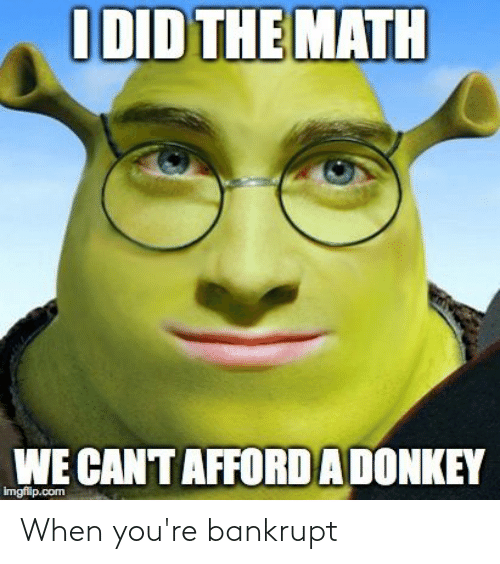 Imgflip Com: I DID THE MATH  WE CAN'T AFFORD A DONKEY  imgflip.com When you're bankrupt