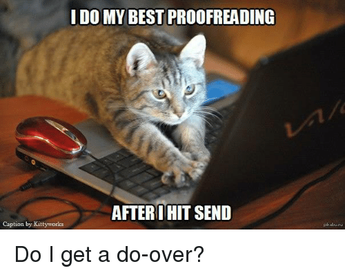 proofreading: I DO MY BEST PROOFREADING  AFTER I HIT SEND  Caption by Kittyworks Do I get a do-over?