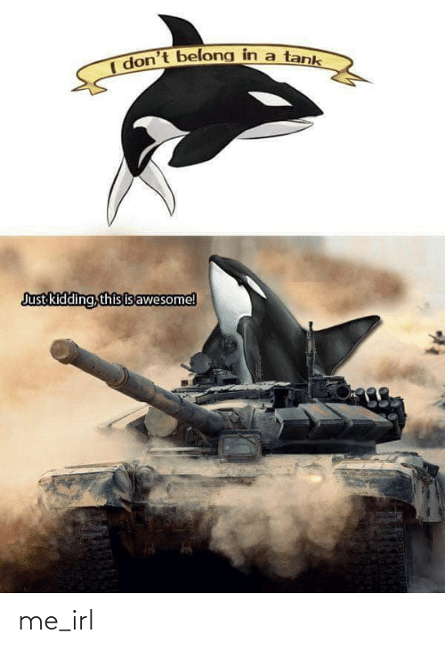 tank: I don't belong in a tank  Just kidding, this isawesome! me_irl