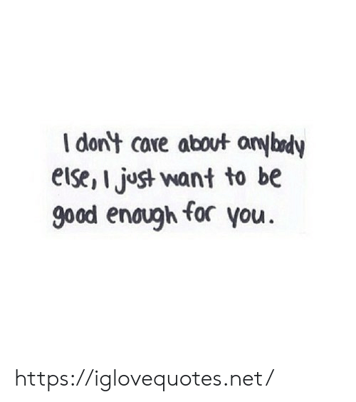 Good, Net, and You: I dont care about anybedy  eise,I just want to be  good enaugh for you https://iglovequotes.net/