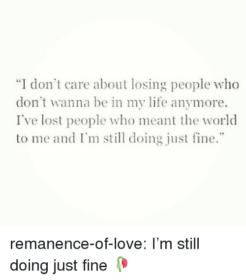 """Life, Love, and Target: """"I don't care about losing people who  don't wanna be in my life anymore.  I've lost people who meant the world  to me and I' doing just fine."""" remanence-of-love:  I'm still doing just fine 🥀"""