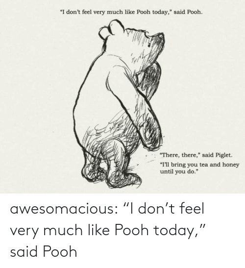 """pooh: """"I don't feel very much like Pooh today,"""" said Pooh.  """"There, there,"""" said Piglet.  """"I'll bring you tea and honey  until you do."""" awesomacious:  """"I don't feel very much like Pooh today,"""" said Pooh"""