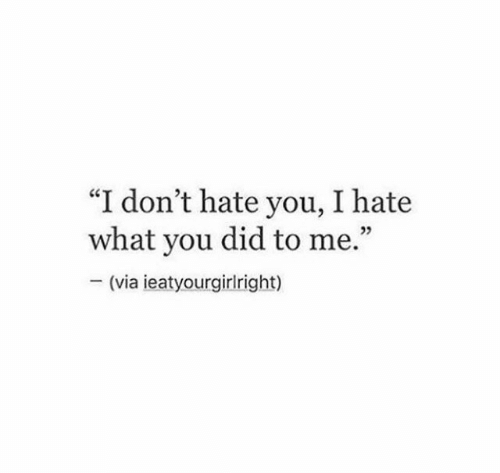 """Via, Did, and You: """"I don't hate you, I hate  what you did to me.""""  (via ieatyourgirlright)"""