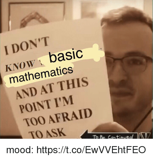 Mood, Girl Memes, and Mathematics: I DON'T  KNoW basic  mathematics  AND AT THIS  POINT I'M  TOO AFRAID  TO ASK mood: https://t.co/EwVVEhtFEO