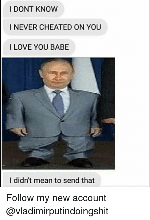 Memes, 🤖, and Love You Babe: I DONT KNOW  I NEVER CHEATED ON YOU  I LOVE YOU BABE  I didn't mean to send that Follow my new account @vladimirputindoingshit