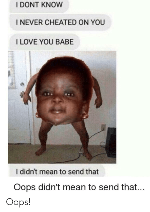 i love you babe: I DONT KNOW  I NEVER CHEATED ON YOU  I LOVE YOU BABE  I didn't mean to send that  Oops didn't mean to send that... Oops!