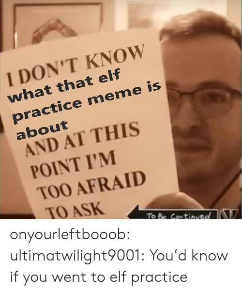 And At This Point Im Too Afraid To Ask: I DON'T KNOW  what that elf  practice meme is  about  AND AT THIS  POINT I'M  TOO AFRAID  TO ASK  To Be ContinvedN onyourleftbooob:  ultimatwilight9001: You'd know if you went to elf practice