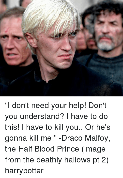 "Memes, Prince, and Help: ""I don't need your help! Don't you understand? I have to do this! I have to kill you...Or he's gonna kill me!"" -Draco Malfoy, the Half Blood Prince (image from the deathly hallows pt 2) harrypotter"