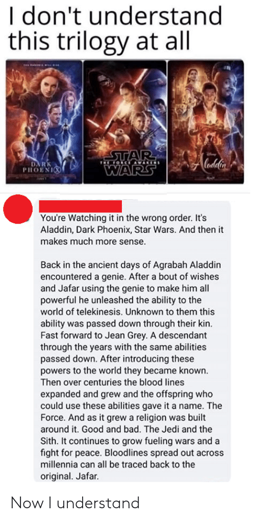 Jedi: I don't understand  this trilogy at all  STAR  OCE AVARIS  Cadlin  DA RK  PHOENI  WARS  You're Watching it in the wrong order. It's  Aladdin, Dark Phoenix, Star Wars. And then it  makes much more sense.  Back in the ancient days of Agrabah Aladdin  encountered a genie. After a bout of wishes  and Jafar using the genie to make him all  powerful he unleashed the ability to the  world of telekinesis. Unknown to them this  ability was passed down through their kin.  Fast forward to Jean Grey. A descendant  through the years with the same abilities  passed down. After introducing these  powers to the world they became known.  Then over centuries the blood lines  expanded and grew and the offspring who  could use these abilities gave it a name. The  Force. And as it grew a religion was built  around it. Good and bad. The Jedi and the  Sith. It continues to grow fueling wars and a  fight for peace. Bloodlines spread out across  millennia can all be traced back to the  original. Jafar. Now I understand