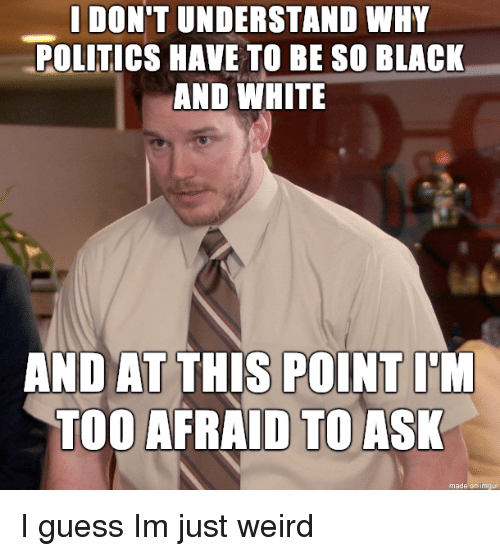 And At This Point Im Too Afraid To Ask: I DON'T UNDERSTAND WHY  POLITICS HAVE TO BE SO BLACK  AND WHITE  AND AT THIS POINT I'M  TOO AFRAID TO ASK  made on imgu I guess Im just weird