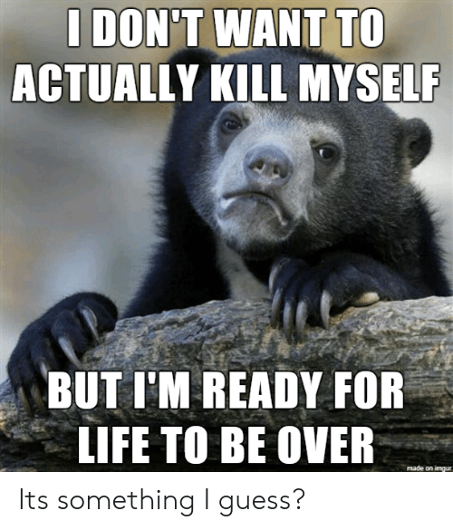 Life, Guess, and Imgur: I DON'T WANT TO  ACTUALLY KILL MYSELF  BUT I'M READY FOR  LIFE TO BE OVER  made on imgur Its something I guess?