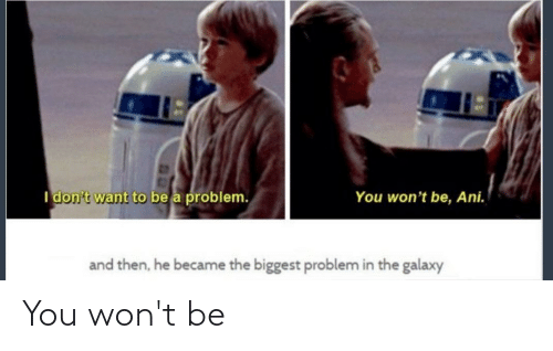 Galaxy, You, and Problem: I don't want to be a problem.  You won't be, Ani.  and then, he became the biggest problem in the galaxy You won't be