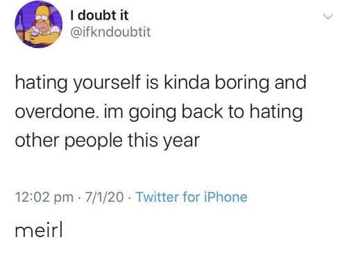Other: I doubt it  @ifkndoubtit  hating yourself is kinda boring and  overdone. im going back to hating  other people this year  12:02 pm · 7/1/20 · Twitter for iPhone meirl
