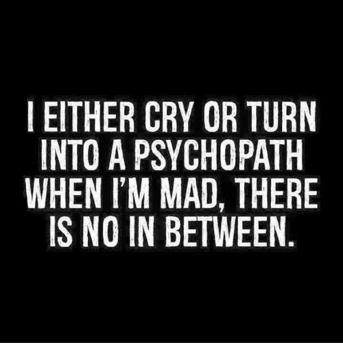 Memes, Mad, and 🤖: I EITHER CRY OR TURN  INTO A PSYCHOPATH  WHEN I'M MAD, THERE  IS NO IN BETWEEN  N E  RHR  T EN  UAHE  TE  ROI ,A  OHDT  OCDE  YCAE  RyMB  CS  EAT  HONN  TTE  NHS  IN