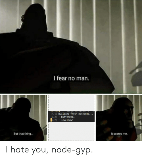 Fresh, Fear, and Programmer Humor: I fear no man.  [4/4] Building fresh packages...  [1/2]  [2/21  bufferutil  leveldown  it scares me  But that thing... I hate you, node-gyp.