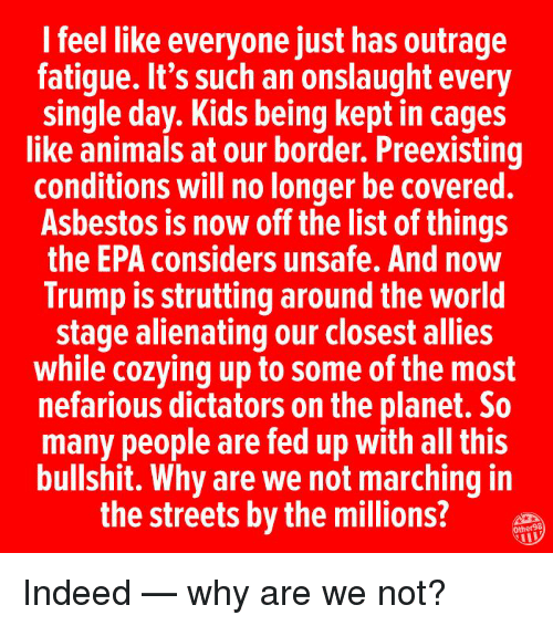 epa: I feel like everyone just has outrage  fatigue. It's such an onslaught every  single day. Kids being kept in cages  like animals at our border. Preexisting  conditions will no longer be covered.  Asbestos is now off the list of things  the EPA considers unsafe. And now  Trump is strutting around the world  stage alienating our closest allies  while cozying up to some of the most  nefarious dictators on the planet. So  many people are fed up with all this  bullshit. Why are we not marching in  the streets by the millions?  Other98  IL Indeed — why are we not?
