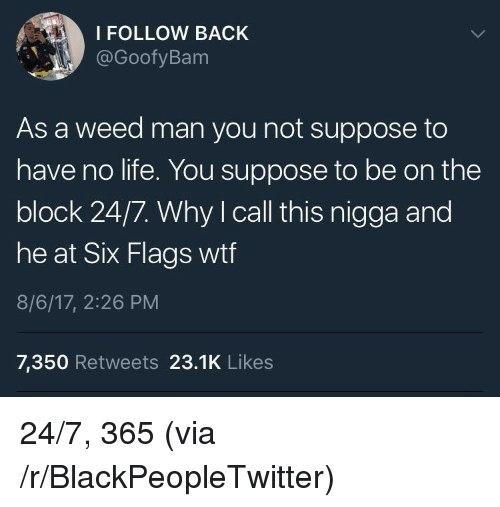Six Flags: I FOLLOW BACK  @GoofyBam  As a weed man you not suppose to  have no life. You suppose to be on the  block 24/7. Why I call this nigga and  OC  he at Six Flags wtf  8/6/17, 2:26 PM  7,350 Retweets 23.1K Likes <p>24/7, 365 (via /r/BlackPeopleTwitter)</p>