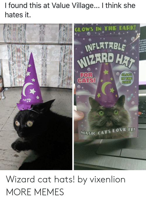 inflatable: I found this at Value Village... I think she  hates it.  GLOWS IN THE DARK!  INFLATABLE  WIZARD HAI  orvacy  are usd  wit  FOR  CATS!  GLOWS  IN THE  DARK!  FAdMTR  MAGIC CATSLOVE IT! Wizard cat hats! by vixenlion MORE MEMES