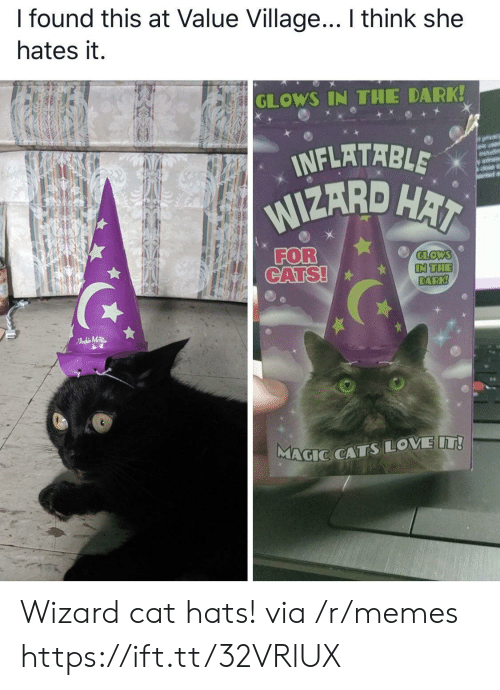 inflatable: I found this at Value Village... I think she  hates it.  GLOWS IN THE DARK!  INFLATABLE  WIZARD HAI  orvacy  are usd  wit  FOR  CATS!  GLOWS  IN THE  DARK!  FAdMTR  MAGIC CATSLOVE IT! Wizard cat hats! via /r/memes https://ift.tt/32VRlUX