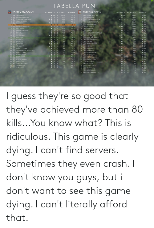 I Dont Want: I guess they're so good that they've achieved more than 80 kills...You know what? This is ridiculous. This game is clearly dying. I can't find servers. Sometimes they even crash. I don't know you guys, but i don't want to see this game dying. I can't literally afford that.