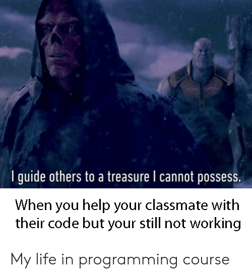 possess: I guide others to a treasure l cannot possess.  When you help your classmate with  their code but your still not working My life in programming course