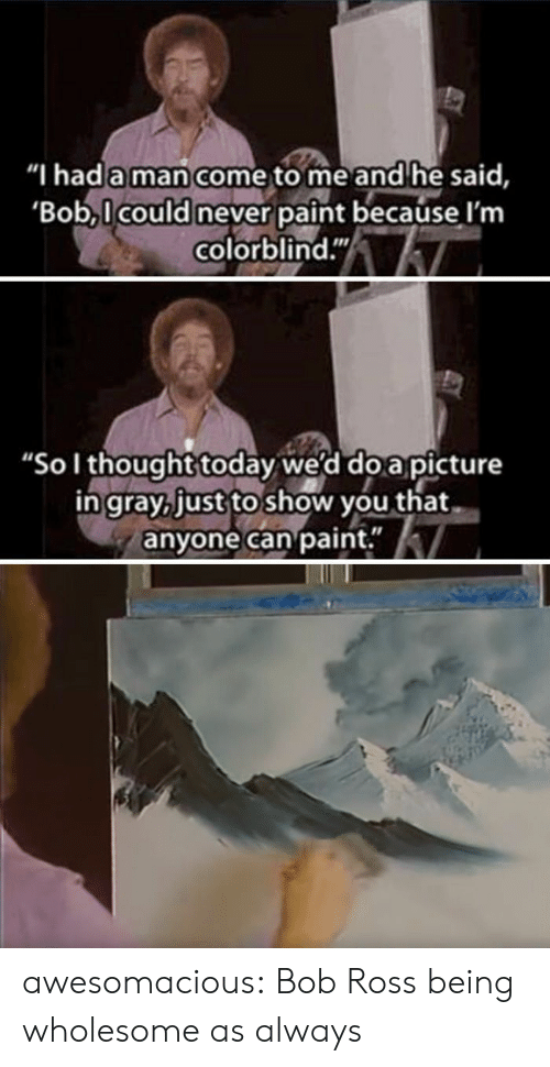 """As Always: """"I hada man come to me and he said,  Bob,l could never paint because l'm  colorblind.""""  """"Sol thought today we'd do a picture  ingray, just to show you that  anyone can paint."""" awesomacious:  Bob Ross being wholesome as always"""