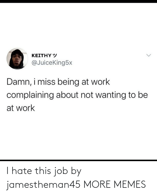 hate: I hate this job by jamestheman45 MORE MEMES