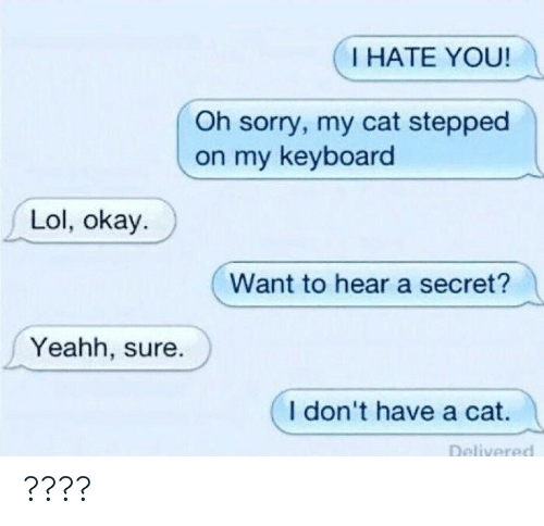 yeahh: I HATE YOU!  Oh sorry, my cat stepped  on my keyboard  Lol, okay.  Want to hear a secret?  Yeahh, sure.  I don't have a cat. ????