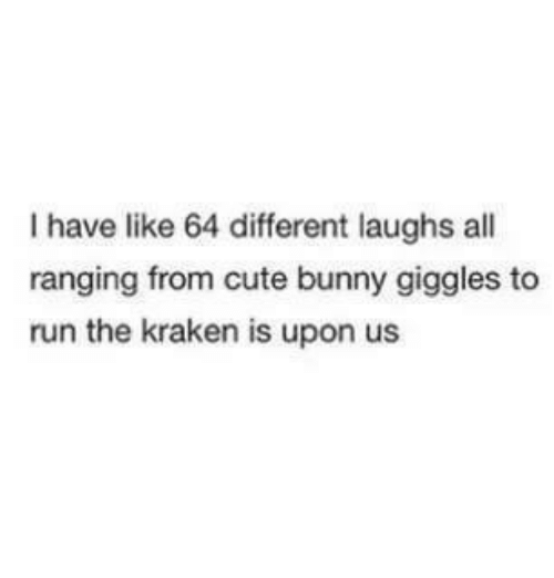 Bunnies, Cute, and Funny: I have like 64 different laughs all  ranging from cute bunny giggles to  run the kraken is upon us